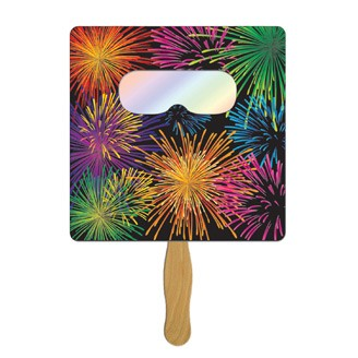 FSF-60 - Square Hand Fan with Fireworks Film