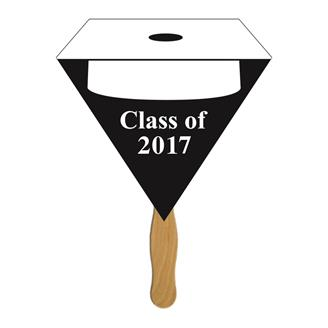 GF-6 - Triangular Graduate Hand Fan w/ White Hat