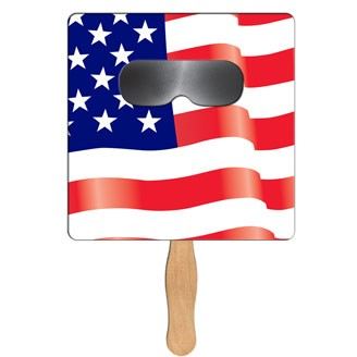 SSF-70 - Square Flag Sun Shade Hand Fan