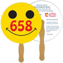 Smiley Face Auction Hand Fan Full Color