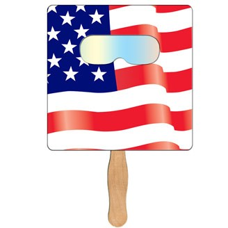 FSF-70 - Square Flag Hand Fan with Fireworks Film