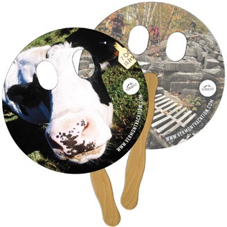 LF-26 - Circle With Eyes Cut Hand Fan Full Color (2 Sides)