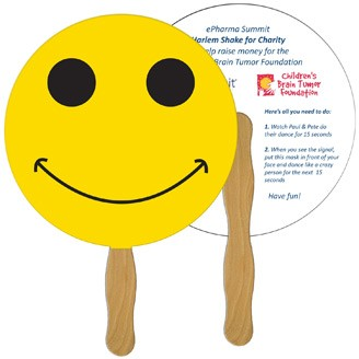 LF-39 - Smiley Face Hand Fan Full Color (2 Sides)
