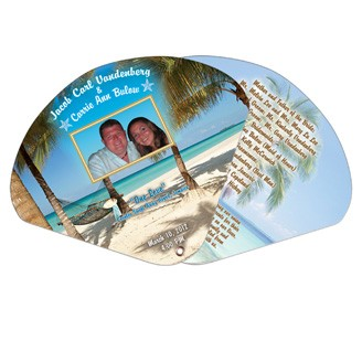 WEF-1 - Wedding Two Part Expandable Hand Fan w/ Decorated Edge Full Color