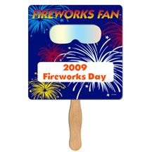 Square Hand Fan with Fireworks Film