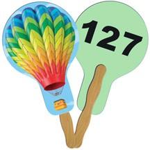 Balloon/Light Bulb Auction Hand Fan Full Color