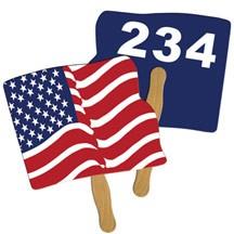 Flag Auction Hand Fan Full Color